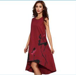 chinese dress 2018 - M - 6XL Summer Dress 2018 New Vestido Casual Dresses Women Chinese Linen Vintage Dress Ladies Sundress Plus Size Women C