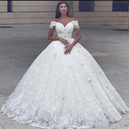 Wholesale 2018 Arabic Capped Sleeves Ball Gown Wedding Dresses Off Shoulder D Flowers Beaded Lace Princess Floor Length Puffy Plus Size Bridal Gowns