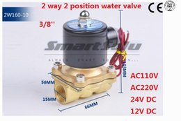 Brass Standard NZ - 2 way 2w series Brass Air gas water solenoid valve 3 8 inch 24V DC Normally close 2W160-10 Wire lead type