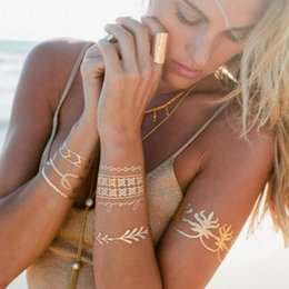 Hot temporary tattoos sexy online shopping - Hot Women Men Body Art Painting Gold Metallic Glitter Tattoo Sticker Chain Bracelet Fake Jewelry Waterproof Temporary For Sexy Arm Eye Neck