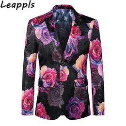 wedding dresses men slim 2018 - Leappls M-6LXL Mens floral blazer Slim fit Brand clothing Mens blazers and jackets Fashion flower designs wedding dress