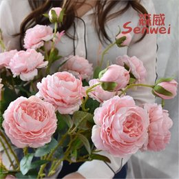 wholesale peonies bouquet Canada - 10PCS Three Head Peony Simulation Flower Western Rose Bride Bouquet Wedding Flower Home Decorative Flowers Wreaths 68cm 33g
