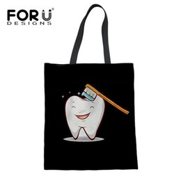 $enCountryForm.capitalKeyWord Australia - FORUDESIGNS Funny Cartoon Fairies Clean Tooth Reusable Women Shopper Bags Print Girls Canvas Shopping Tote Bag Mom