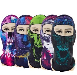 Protective Masks Australia - 3D print design Skull full Face Mask Bike cycling protective caps Motorcycle Neck Face Mask Cycling skeleton hood headwear party masks