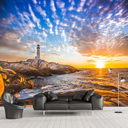 sea wallpaper for walls NZ - Modern fashion Beautiful Sunset Sea Lighthouse Customized 3D Wallpapers Living Room TV Background Wall Mural Home Decoration YBZ069