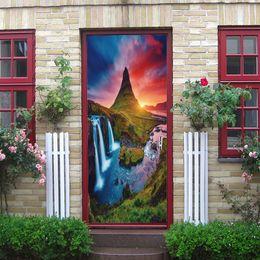 $enCountryForm.capitalKeyWord NZ - Vinyl Decal 3D effect Art Door sticker Waterfall Sunset Glow Scenery Waterproof Removable Door Living Room Bedroom Decoration PVC Wall Mural