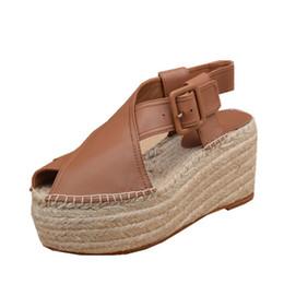 Brown Peep Toe Gladiator Sandals UK - Summer Newset Platform Shoes Women Sandals Hemp Rope Retro Cowhide Rome Peep Toe High Heeled Sandals Ladies