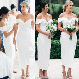 Discount chocolate green tea - 2018 Simple White Satin Sheath Bridesmaid Dresses Sexy Off the Shoulder Tea Length Maid of Honor Gown Wedding Guest Dres