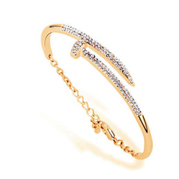 Christmas Gift Nails Australia - Free shipping Fashion jewelry gold silver charm bracelets nail bangle bracelets for women party jewelry Christmas gift