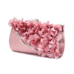 Ladies Evening Handbags Australia - FGGS Hot Lady Satin Clutch Bag Flower Evening Party Wedding Purse Chain Shoulder Handbag 5 Colors D18110106
