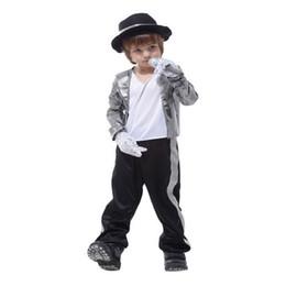 155bc0586ee73 Michael jackson chaquetas trajes para niños billie jean Cosplay niños  guante traje fedora sombrero negro Halloween niñas niños niños