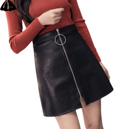 f136c598b041 2018 Hot Sale Plain Zipper Leather Skirt Black Mid Waist Front Sexy PU Skirt  Women Elegant Sheath Above Knee Mini Skirt