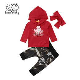 Hooded Headband Australia - 2019 New Year's Cotton Clothes For Girls Cute Baby Girls Long Sleeve Letter Print Hooded Sweatshirt+Camouflage Pants Headband