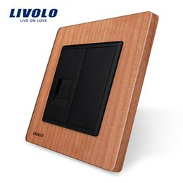 Outlet wOOd online shopping - Livolo EU standard Cherry wood Panel One Gang Telephone Socket Outlet VL C791T Without Plug adapter