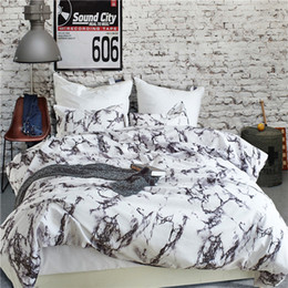Discount chinese quilt covers Modern Marble Printed Bedding Set Queen Size 2pcs 3pcs Duvet Cover Set Bed Linen Quilt Cover