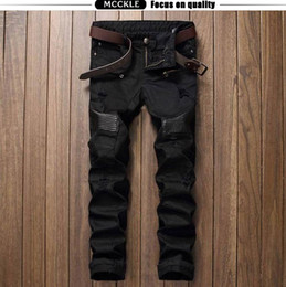 $enCountryForm.capitalKeyWord Canada - Fashion Designer Hip Hop Mens Ripped Biker Jeans Leather Patchwork Slim Fit Black Denim Joggers For Male Distressed Jeans Pants 29-38