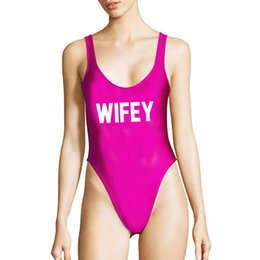 Wholesale one lycra suit green for sale – halloween Sexy WIFEY One Piece Swimsuit Women Swimwear Bikini New Letter Print Bodysuit Purple White Bathing Suit Lady Monokini Biquinis
