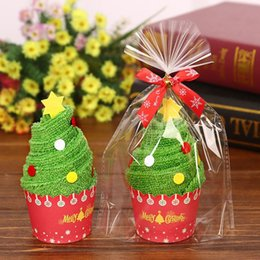 Cupcake Trees Australia - 30x30cm Exquisite Christmas Gift Cupcake Cotton Towel with Packaging Bag Natal Noel Christmas Decorations for Home Kids Children Y18102609