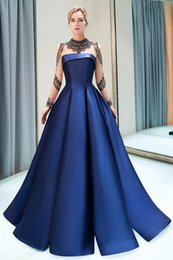 Discount celebrity bridesmaids dresses - Designer 2019 New Arrival Navy Blue Elegant Evening Prom Dresses Sheer Long Sleeves Beadings Ruffles Long Celebrity Form