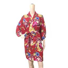 $enCountryForm.capitalKeyWord UK - Summer Women Robe Nightwear Flower Bride Wedding Bathrobe Gown Home Dress Sexy Geisha Cotton Sleepwear Print Flower Nightgown