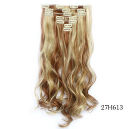 Blonde hair Brown highlights online shopping - Brown blonde highlighted set quot cm g Clip in Hair Extensions Synthetic Clip In Hair Extension wavy Hair Extension