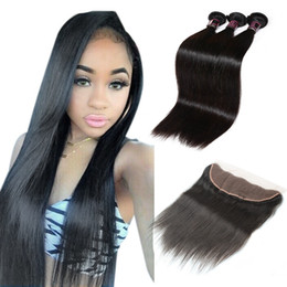 China Wholesale 8A Brazilian Hair Weaves 3Bundles With Lace Frontal Silky Straight Hair Extensions Human Hair Bundles With Closure For Black Women cheap brazilian straight lace frontal suppliers