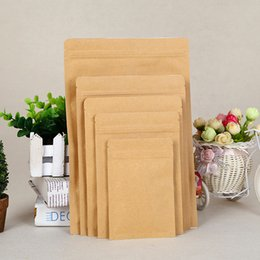 Discount snack packs - 100pcs lot Kraft Paper Aluminum Foil Bag Zipper Doy pack Packaging Pouch Food Tea Snack Resealable Bags wholesale LZ0910