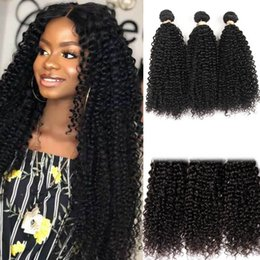 Afro Hair Extensions Bundles Australia - Brazilian Curly Hair Bundles 100% Curly Weave Human Hair Natural Color Non Remy Afro Kinky Curly Hair Extensions Promotion