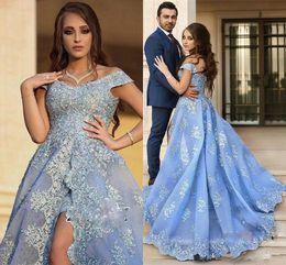 $enCountryForm.capitalKeyWord Australia - Romantic Dubai Saudi Split Evening Dresses Celebrity Lace Plus Size 2018 Floral Arabic African Prom Party Ball Women Gowns Formal Wear