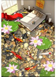 Korean Wedding Cloth Canada - Wholesale-Custom Photo Floor Wallpaper Floating Flower Stone 3D Floor Tiles PVC Self-adhesive Floor Murals Wallpaper decor Painting