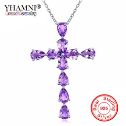 purple choker necklace UK - YHAMNI Fashion Purple Natural Amethyst CZ Zircon Cross Choker Necklaces Pendants 925 Sterling Silver Fine Jewelry ZD427