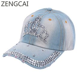43c7cf699f3ee 2017 Women Baseball Cap With Crown Rhinestone Jeans Hats Snapback Denim Hat  Hip Hop Girls Summer Spring Female Adjustable Caps