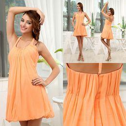 knee length wedding dress scoop back 2019 - Orange Ruffle Short Bridesmaids Dresses Halter Neck Open Back Knee Length Maid of Honor Gowns For Summer Wedding Beach B