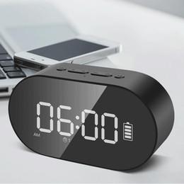 Stock Mirrors Australia - Stock P1 Bluetooth Alarm Clock Speaker LED Display Digital Mirror With Aux TF Card USB Flash disk FM Home Office Portable HIFI Speaker