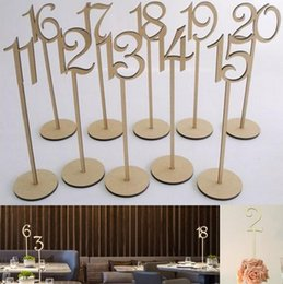 Hot Rustic hessian wedding table decoration Wooden wedding table number holder party table number tag stand on Sale