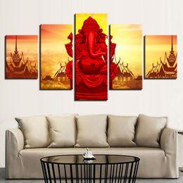 $enCountryForm.capitalKeyWord Australia - Canvas HD Print Wall Art Poster Framework 5 Pieces Red Elephant God Ganesha Painting Modular Vinayaka Pictures Living Room Decor