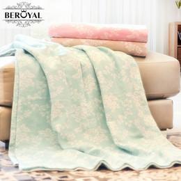 Cotton Soft Muslin NZ - Beroyal Brand Blanket -1PC 180*220cm 100% Cotton Blanket on bed Soft Muslin Blankets for Adult cobertor Floral Throw