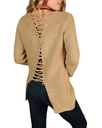 78f19981f6 2017 Sexy Women Loose Knit Sweater Solid Lace Up Back Bandage V Neck  Pullover Tops Long Sleeve Hollow Out Sweater Casual Jumper