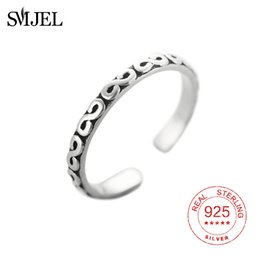 $enCountryForm.capitalKeyWord NZ - SMJEL Retro Style 100% 925 Sterling Silver S Letter Open Rings For Women Vintage Jewelry Accessories Religious Ring Gifts Men