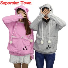 Wholesale Cat Lovers Hoodies With Cuddle Pouch Dog Pet Hoodies For Casual Kangaroo Pullovers With Ears Sweatshirt XL Drop Shipping Y18102202