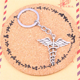 $enCountryForm.capitalKeyWord Australia - Keychain caduceus medical symbol md Pendants DIY Men Jewelry Car Key Chain Ring Holder Souvenir For Gift