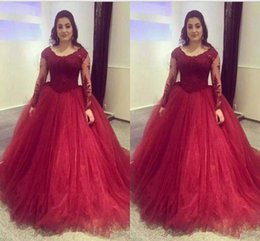 Hourglass dresses online shopping - Burgundy Lace And Tulle Quinceanera Dresses Scoop Neck Tulle Long Sleeves Ball Gown Prom Party Wear Sweet Dresses Evening Gowns
