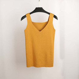 2f61f5cc74e1b4 Sexy Crop Top Knitted Summer Tank Top Women Blouse Sleeveless V Neck Top  Female T -Shirt Vest Casual Camis Streetwear