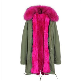detachable rabbit collar Canada - Jazzer Rose fur trim 100% rose rabbit fur lining army green jackets long style winter snow fur parkas