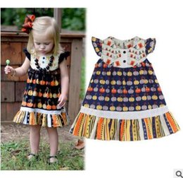 Discount wholesale clothing lines for boutiques - halloween Dresses for Baby Girl Princess Short Sleeve Cartoon Pumpkin Printed Dress Girls Boutique Clothing Infant Toddl