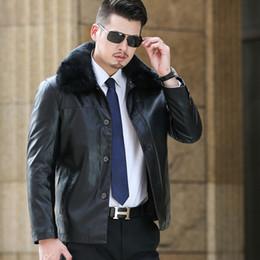 Mens Parka Leather Canada - Mens Faux Fur Coats Winter Leather Jacket Men Thick PU Imitation Sheep Skin 2017 Mens Leather Jackets And Coats Parka Men Coat