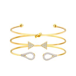 $enCountryForm.capitalKeyWord UK - Big Bowknot Women Cuff Bracelets Bangles 3PC Set Punk Indian Jewelry Gold Color Arrow Crystal Fashion Pulseras Mujer