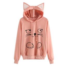 a3637c307753 2018 Autumn Fashion Cute Cat Print Hoodies Women Cat Ear Cartoon Long  Sleeve Hooded Sweatshirt Ladies Pullovers Sudadera Mujer