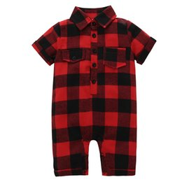 5t romper online shopping - 2018 Baby Rompers Boys Girls Red Plaid Toddler Romper Clothing INS Summer Short Sleeve Infant Onesies Boutique Jumpsuits Clothes