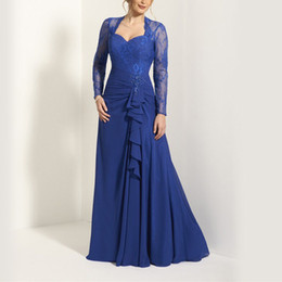 Mother Bride Dresses Jackets Pants NZ - Royal blue Plus size Lace Mother of the bride dresses with Full long sleeve Jacket A line Chiffon Beads Elegant Women dress